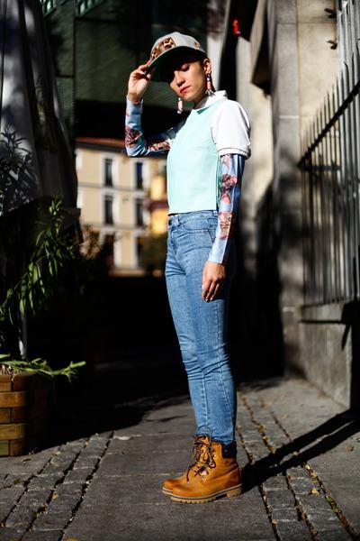 sky blue cats top romwe blouse - aquamarine vest vintagte blouse