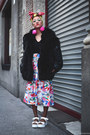 Black-thrifted-coat-hot-pink-pompom-diy-earrings-white-thrifted-skirt