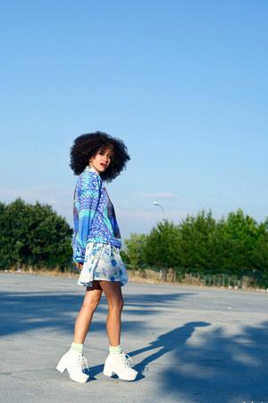 navy cat Mr Gugu and Ms Go sweater - white Ebay boots - sky blue Shana dress