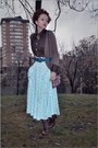 Brown-zara-cardigan-dark-brown-vintage-blouse-light-blue-vintage-skirt-tur