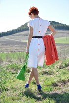 white vintage dress - carrot orange vintage blazer - chartreuse Moschino bag