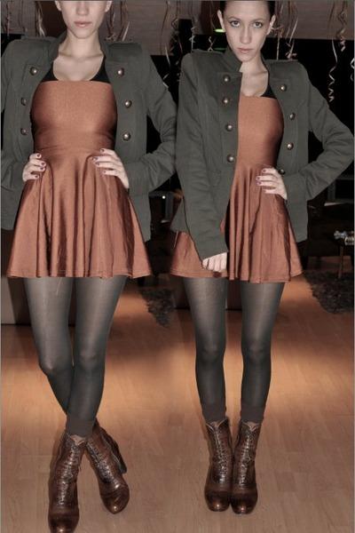 army green Bershka blazer - bronze American Apparel dress - brown Vogue boots