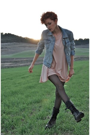 black Marypaz boots - light pink DIY dress - sky blue Gap jacket