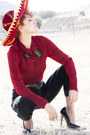 Black-pepe-jeans-jeans-maroon-mexican-hat-ruby-red-vintage-blouse