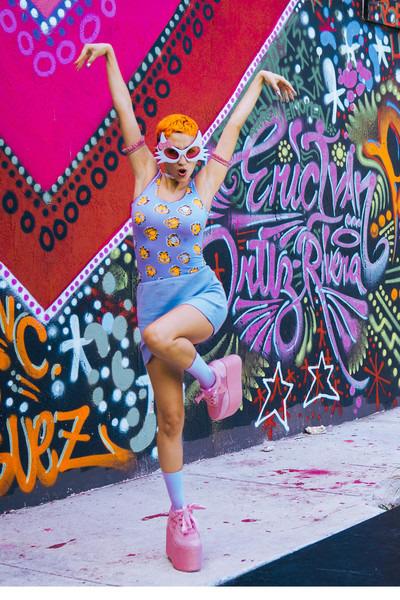bubble gum YRU shoes - periwinkle fishnet We Love Colors socks