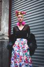 Black-thrifted-coat-hot-pink-pompom-diy-earrings-white-thrifted-skirt