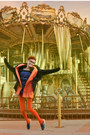 Blue-ebay-dress-black-lefties-jacket-carrot-orange-el-corte-ingles-tights