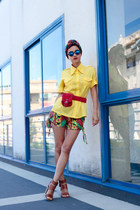 yellow chictopia shop cotton shirt - green tribal print Boodwah shorts