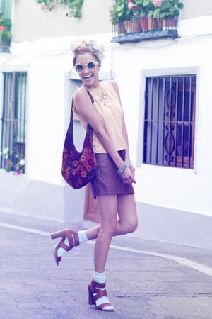 brown H&M skirt - yellow thrifted shirt