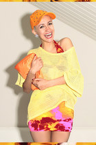 carrot orange cap DIY hat - hot pink tie dye We Love Colors dress