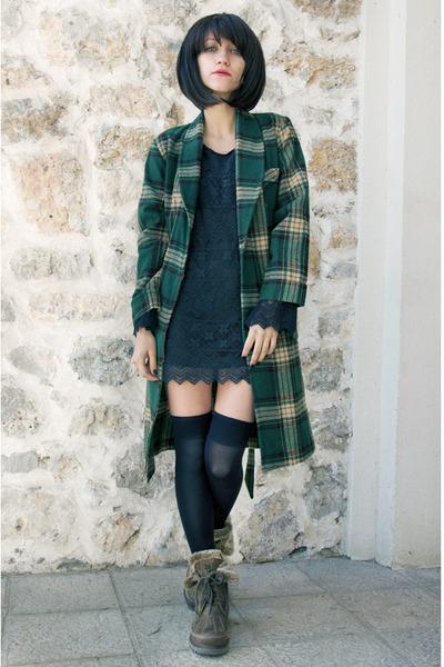 Fox House dress - Panama Jack boots - plaid robe vintage coat