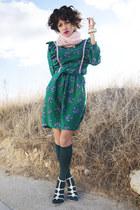 teal Yiddish Chutzpah dress - light pink as scarf handmade sweater