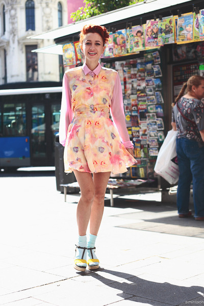 bubble gum thrifted dress - light blue We Love Colors socks