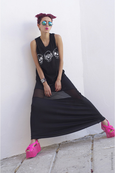 hot pink asos sandals - dark gray OASAP dress