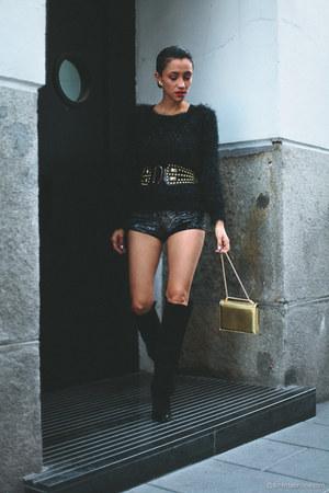 black H&M boots - dark gray hot pants Boodwah shorts - gold vintage belt