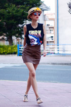 red giant vintage sunglasses - brown H&M skirt - black Alpe Shoes sandals