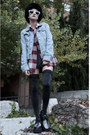 Denim-gap-jacket-plaid-vintage-shirt-roberto-martin-sunglasses