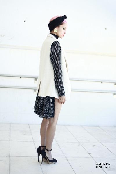 black vintage dress - black hot pants Boodwah shorts - white BLANCO vest