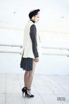 black vintage dress - black hot pants Boodwah shorts - white BLANCO vest