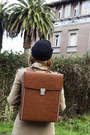 Brown-backpack-modekungen-bag-tan-mango-coat-black-vintage-hat