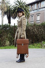 Tan-mango-coat-black-vintage-hat-brown-backpack-modekungen-bag