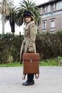 Tan-mango-coat-black-vintage-hat-brown-backpack-modekungen-bag