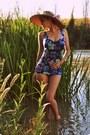 Camel-handmade-hat-navy-floral-print-vintage-swimwear