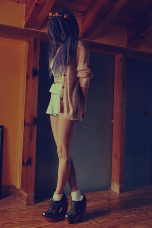 aquamarine pijamas vintage shorts - light pink vintage cardigan