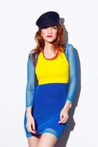 yellow sports bra bra - blue We Love Colors dress - black vintage cap hat