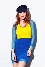 Blue-we-love-colors-dress-black-vintage-cap-hat-yellow-sports-bra-bra