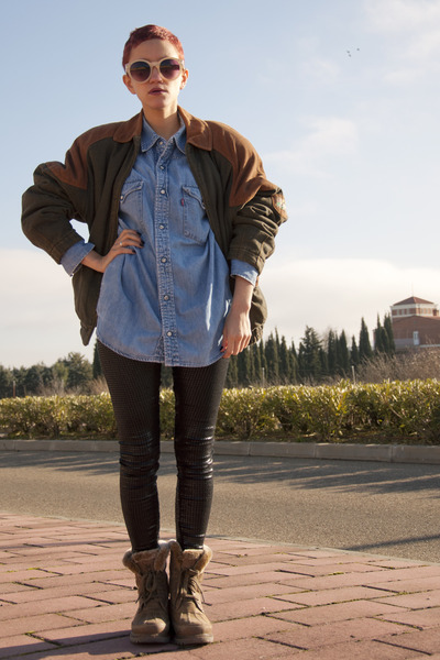 dark brown vintage jacket - camel Panama Jack boots - black Bershka leggings