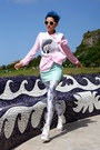Light-blue-romwe-leggings-aquamarine-leather-vintage-skirt