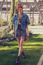Navy-denim-vintage-jacket-light-orange-estela-balan-skirt