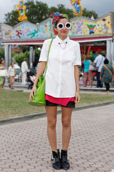 white romwe sunglasses - chartreuse vintage bag - white Mango blouse