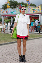 white romwe sunglasses - chartreuse vintage bag - white Mango blouse