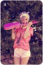 Salmon-lu-ink-shirt-light-pink-thrifted-shorts-eggshell-romwe-necklace