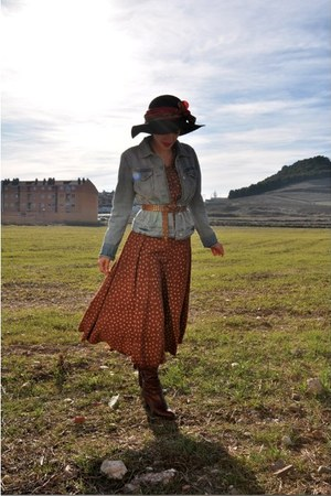 burnt orange vintage dress - light blue Gap jacket - bronze vintage belt