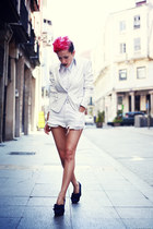 white vintage shorts - navy Cinderella Shop Online shoes - black Thallo earrings
