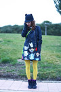 Navy-romwe-dress-black-romwe-hat-black-ax-paris-jacket