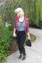 from Ebay hat - cotton on t-shirt - blazer - Otto jeans - Moschino purse - shoes