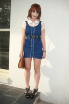 blue Bauhaus dress - white coo ca choo shirt - black second hand belt - brown Ph