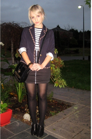 blue school-boyish Sportsgirl blazer - black tights - black Style Stalker skirt