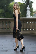 black dress YJBJAIME dress - black bag Louis Vuitton bag