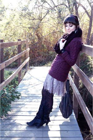 knitted sweater - boots - knitted scarf - lace skirt