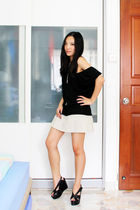 black Forever 21 top - beige Aeropostale skirt - black Jeffrey Campbell knockoff