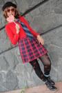 Patent-leather-hush-puppies-boots-plaid-h-m-shirt-we-love-colors-bodysuit