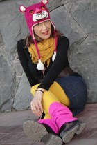hot pink pink panther hat - black combat boots - gold We Love Colors tights