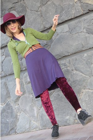 burgandy boho hat - purple no name dress - jacket - leggings - loafers