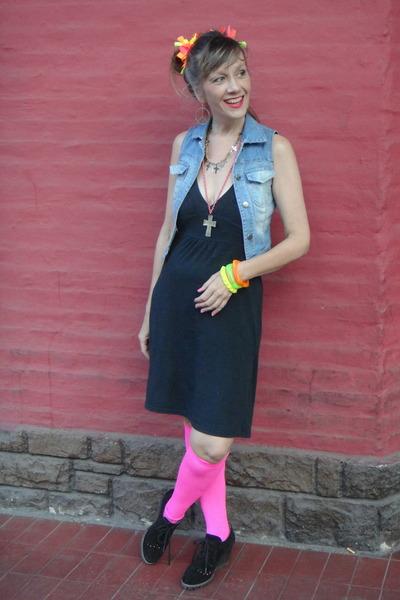jacket - dress - earrings - stockings - bracelet - accessories