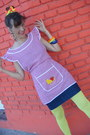 Yellow-yellow-footless-tights-red-pinafore-top-navy-skirt-sandals